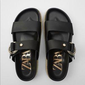 Zara Flat Leather Sandal